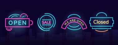 Storefront vector neon light board sign illustrations set. Night shopping commercial signboard designs pack with outer glow effect. Working hours and clearance sales fluorescent advertising banners icon