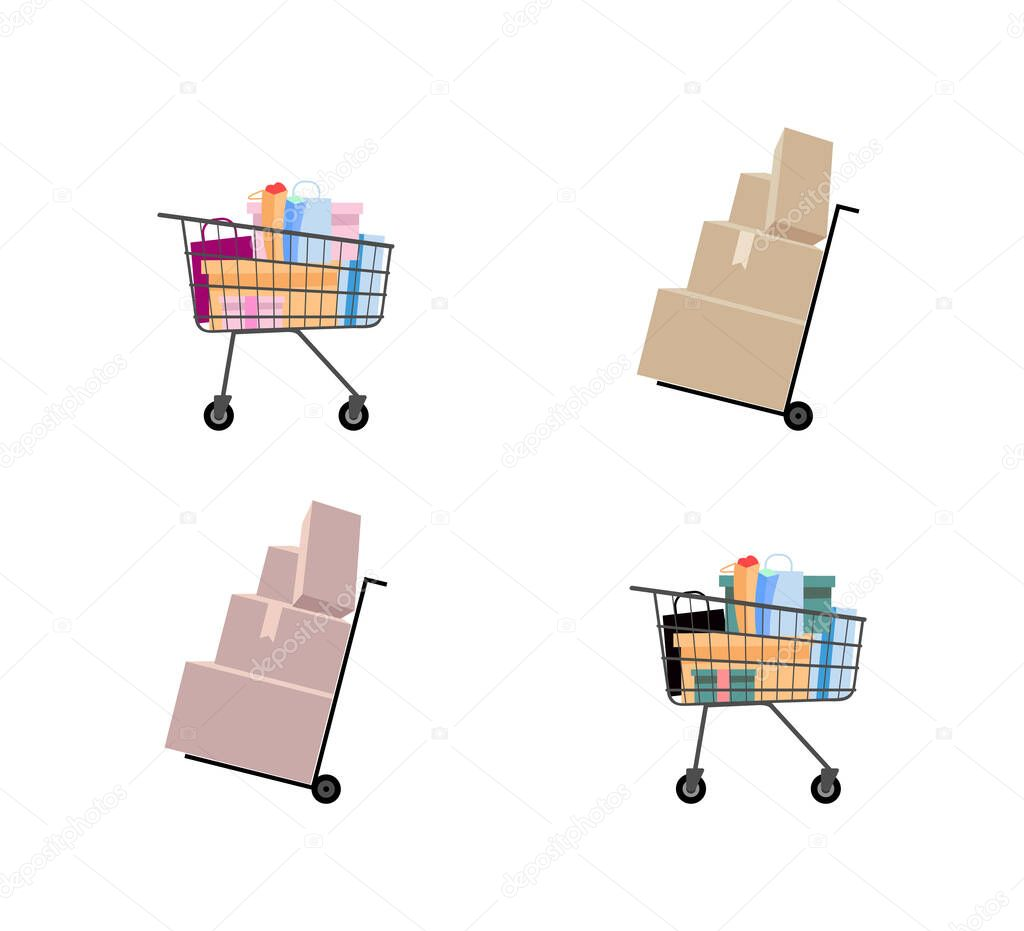 Hand Truck And Supermarket Trolley Flat Color Vector Objects Set Dolly With Cardboard Packages Shopping Cart Isolated Cartoon Illustration For Web Graphic Design And Animation Collection Premium Vector In Adobe Illustrator