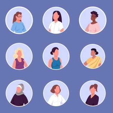 Different nationalities women flat color vector faceless characters icons set. Race equality movement. Gender identity isolated cartoon illustrations collection for web graphic design and animation icon