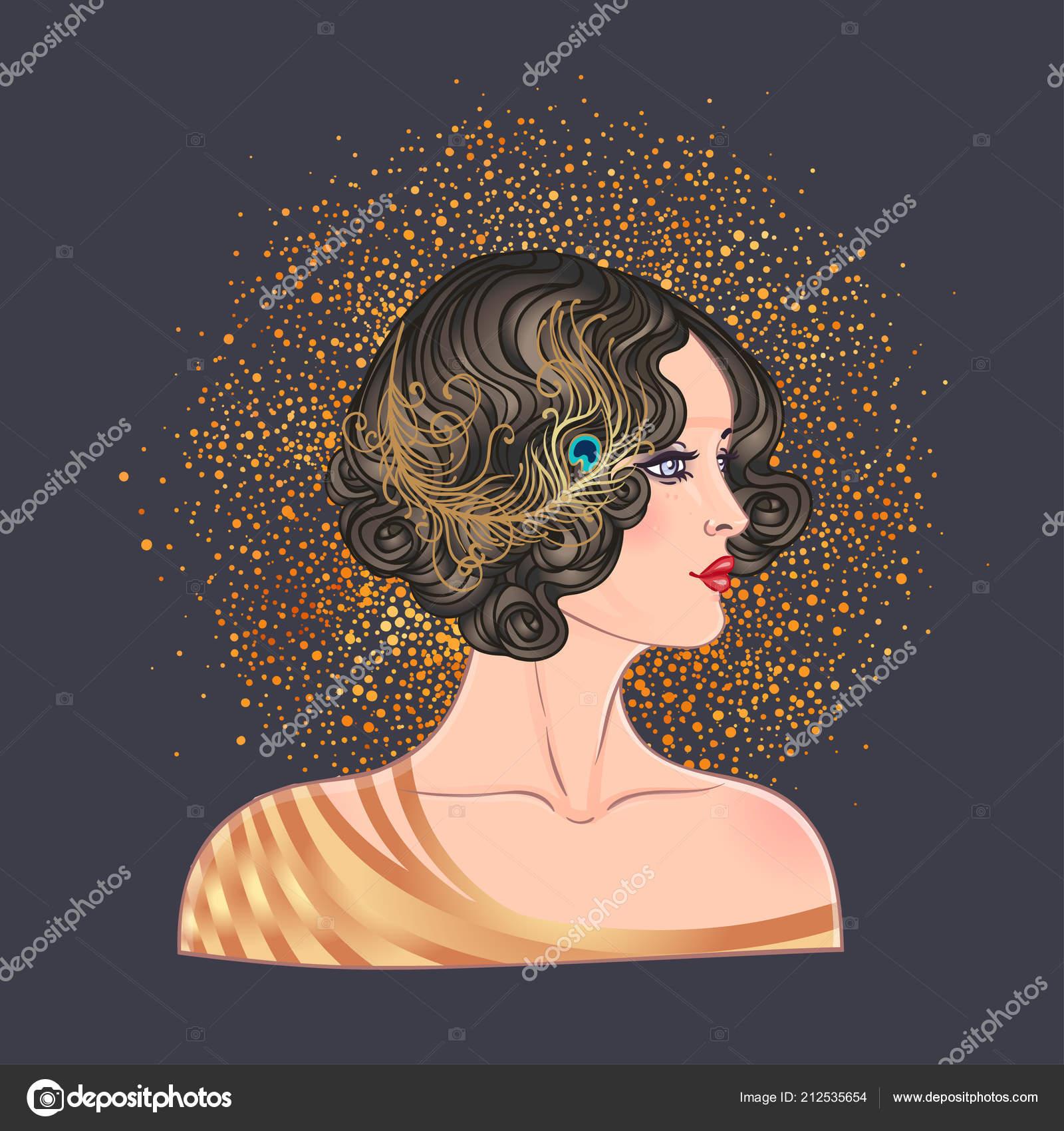 art deco vintage invitation template design illustration flapper