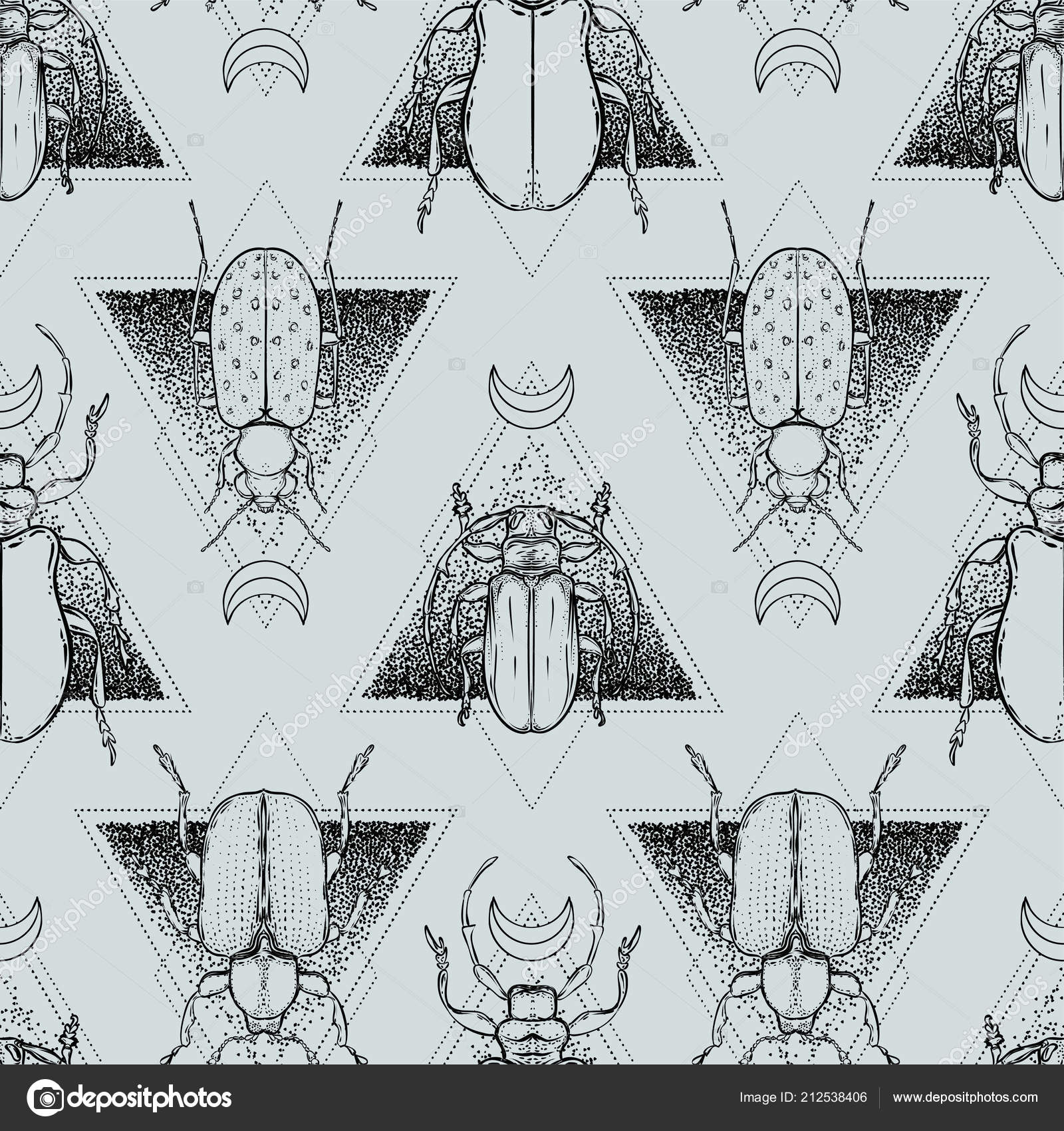 f7e25d7ff Seamless pattern. Mystical symbols and insects. Alchemy, religion,  occultism, spirituality. Hand-drawn vintage.– stock illustration