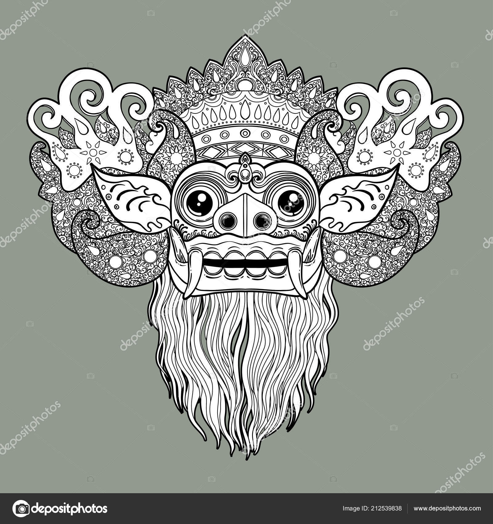 Bali Mask Tattoos Barong Traditional Ritual Balinese Mask