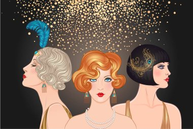 Flapper girls set: three young beautiful women of 1920s. Vector for glamour event, thematic wedding or jazz party.