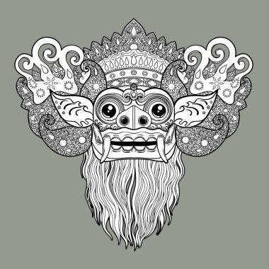 Barong. Traditional ritual Balinese mask. Vector decorative ornate outline illustration isolated. Hindu ethnic symbol, tattoo art, yoga, Bali spiritual design for print, posters, t-shirts, textiles
