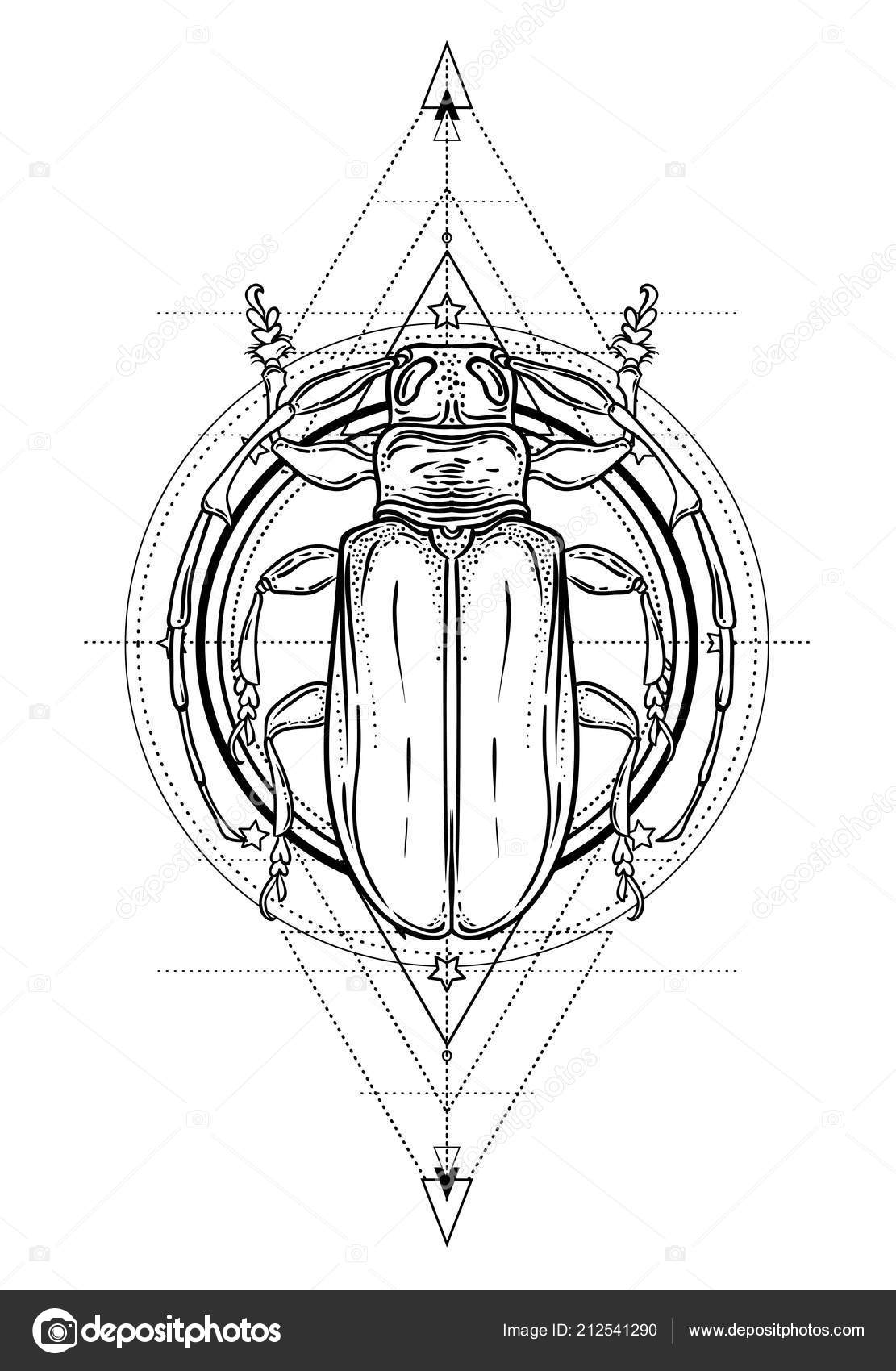 840d737a3 Tattoo sketch. Mystical symbols and insects. Alchemy, religion, occultism,  spirituality, coloring book. Hand-drawn vintage.– stock illustration