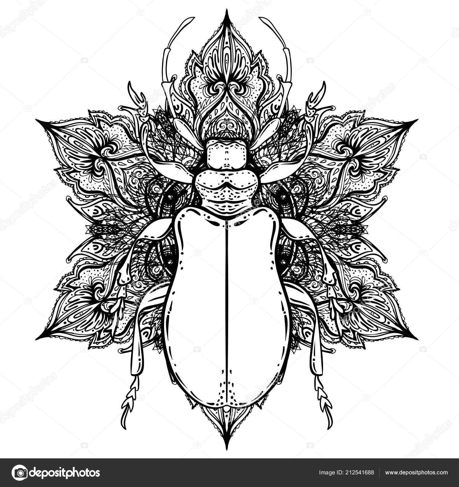0697d2e8a Tattoo sketch. Mystical symbols and insects. Alchemy, religion, occultism,  spirituality, coloring book. Hand-drawn vintage. — Vector by vgorbash
