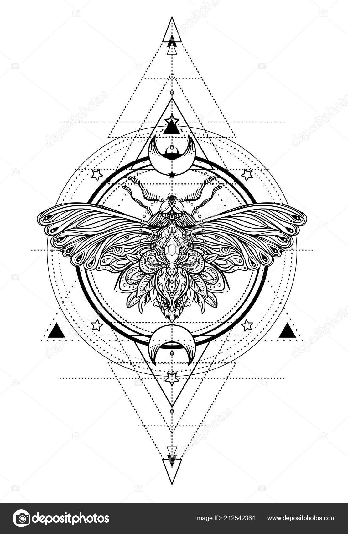 14916a8b9 Tattoo sketch. Mystical symbols and insects. Alchemy, occultism,  spirituality, coloring book. Hand-drawn vintage. — Vector by vgorbash