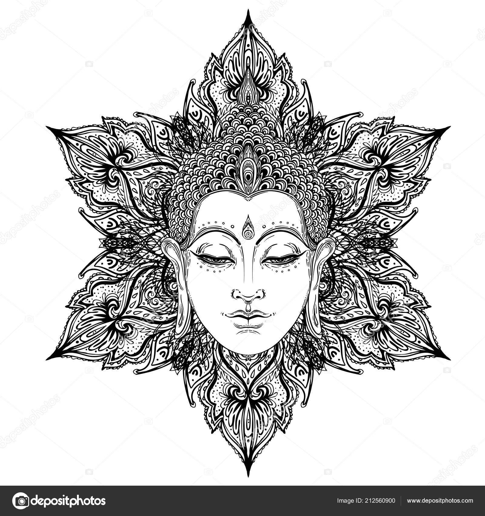 Visage Bouddha Sur Mandala Fleuri Autour Modele Illustration