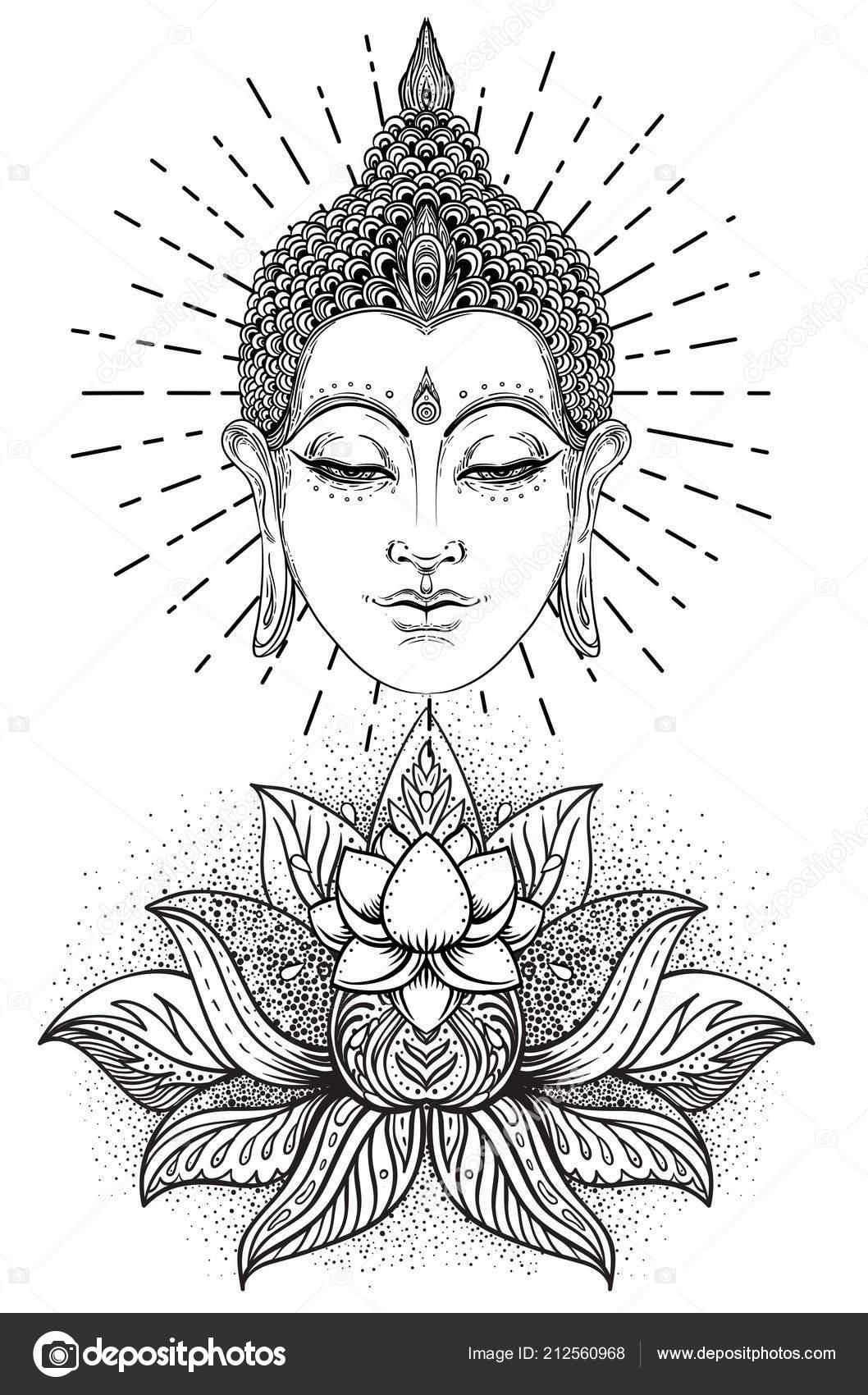 0695d4c16bafc Buddha Face Ornate Mandala Pattern Esoteric Vintage Vector Illustration  Indian — Stock Vector