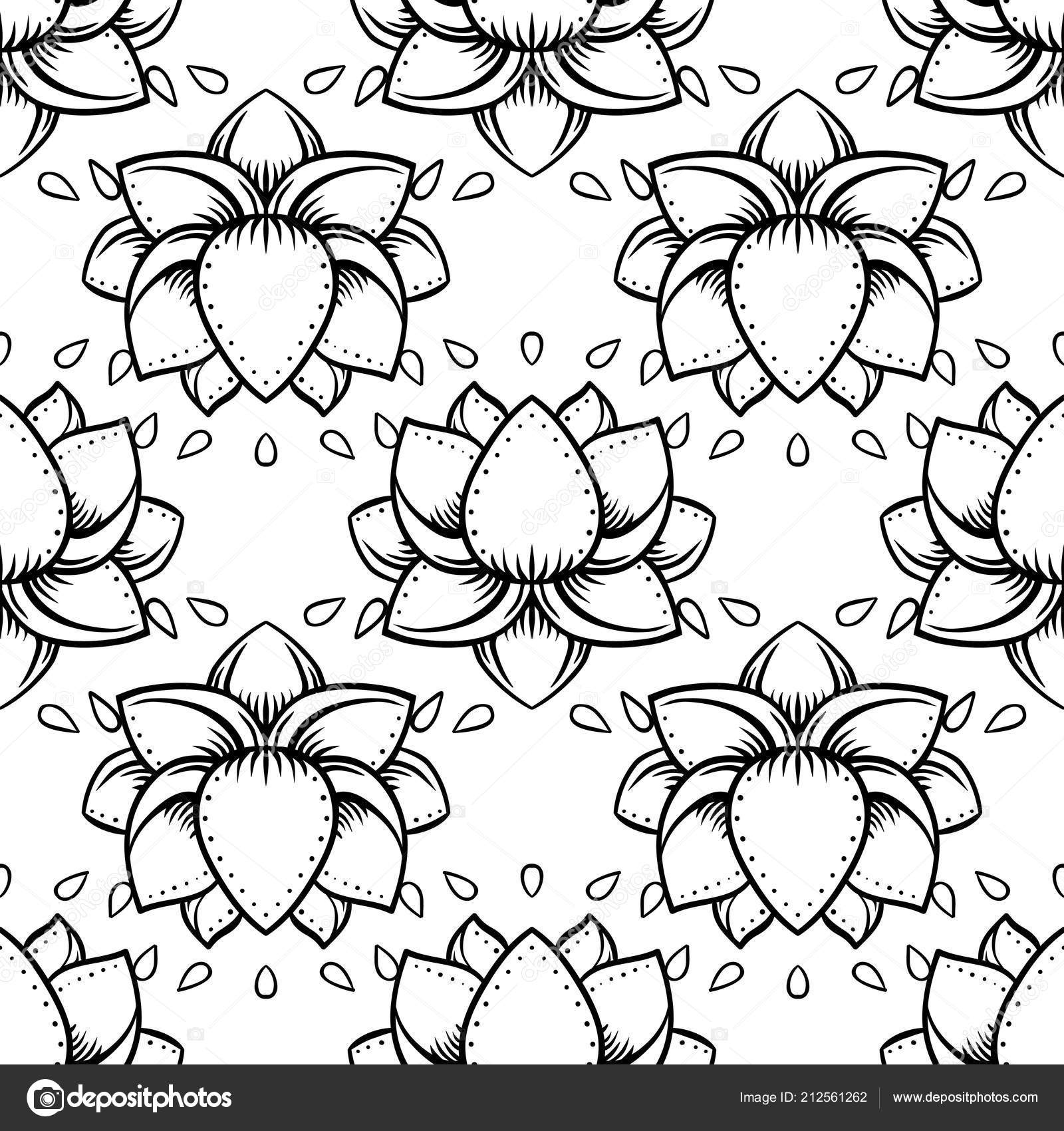 stylish lotus flowers seamless pattern ayurveda symbol harmony