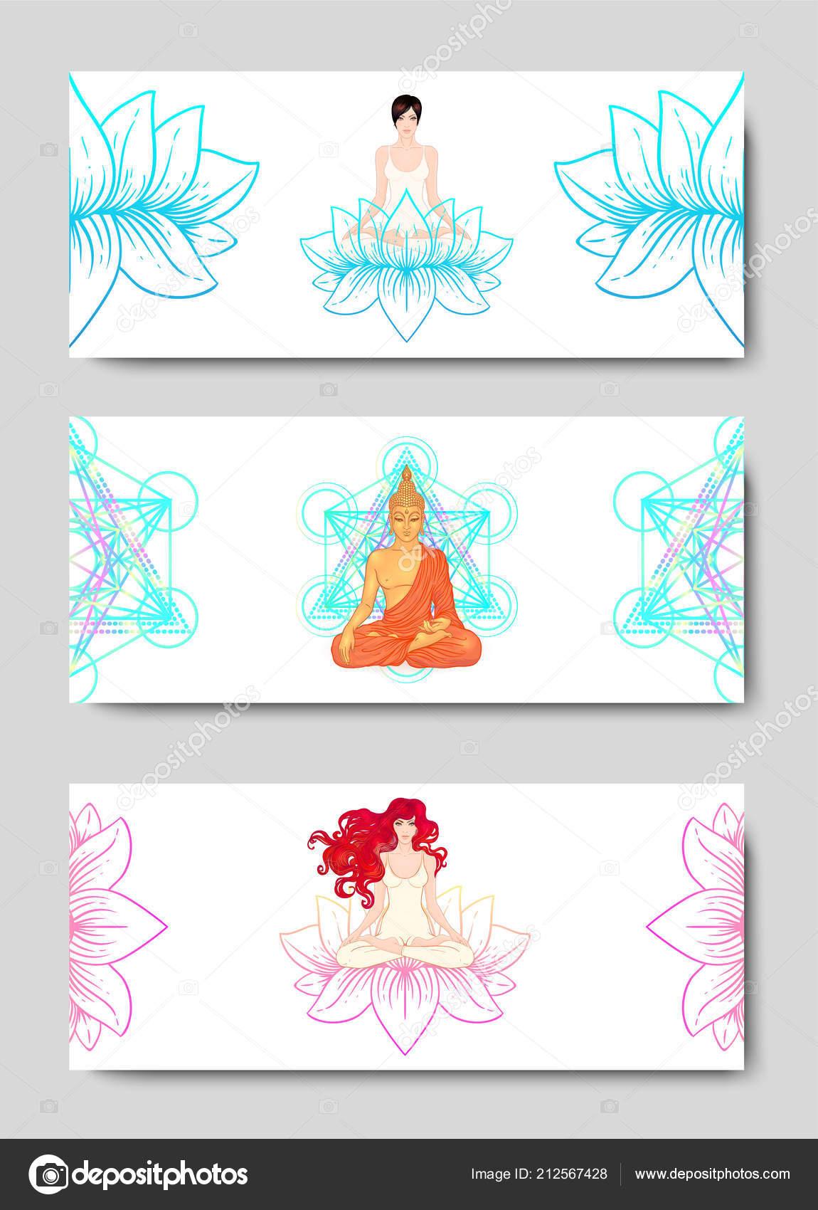 Dehnung Und Kraft Yoga Karte Flyer Plakat Mat Design Bunte