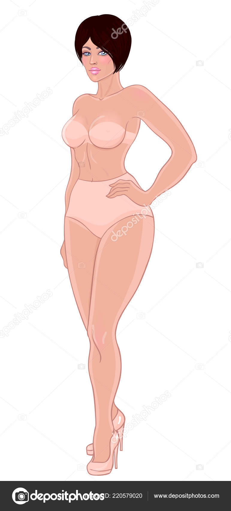 5d3cfa34e2f Curvy girl in beige underwear isolated on white. Vector illustration. Plus  size model in lingerie or swimsuit and high heels. Body positive concept.
