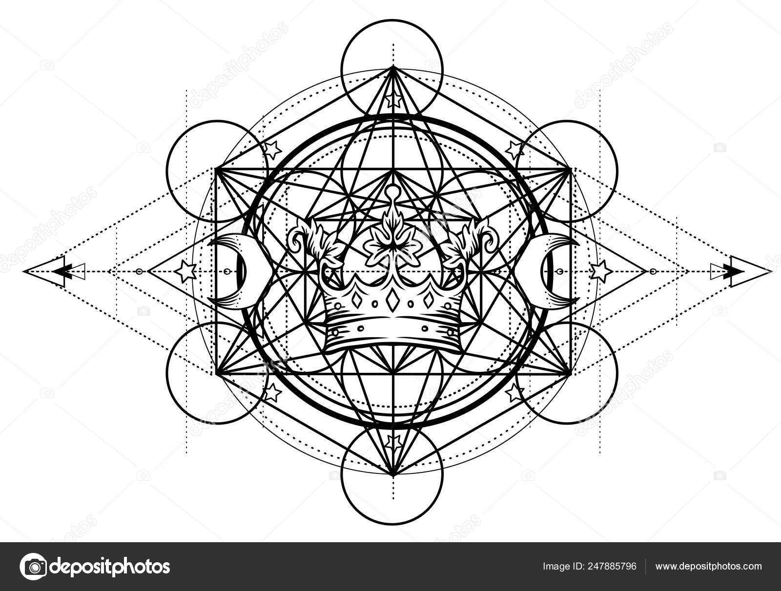 Alchemy Symbol Royal Crown Sacred Geometry Vintage Design
