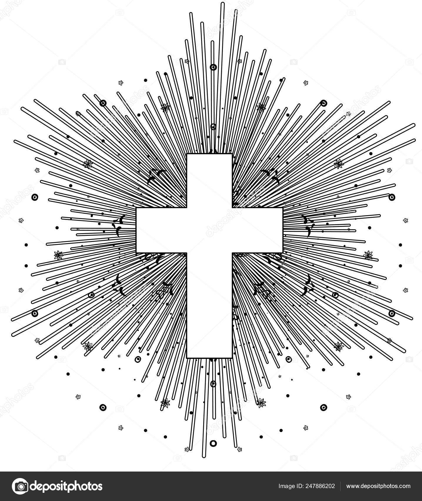 Roman catholic cross tattoos   Outline Drawing Catholic