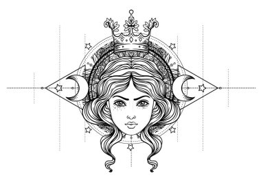 Divine goddess. Black and white girl over sacred geometry sign, isolated vector illustration. Tattoo sketch. Mystical symbol. Alchemy, occultism, spirituality, coloring book. Hand-drawn vintage.