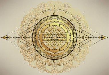 The Sri Yantra or Sri Chakra, form of mystical diagram, Shri Vidya school of Hindu tantra symbol. Sacred geometry vector design element. Vector illustration. Alchemy, occultism, spirituality. stock vector