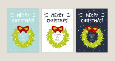 Merry Christmas and Happy New Year. Winter Holidays greeting cards with Christmas wreath icon