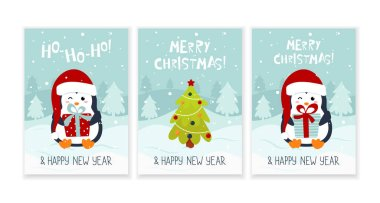 Merry Christmas and Happy New Year greeting card set. Xmas pine tree and penguin with gift box icon