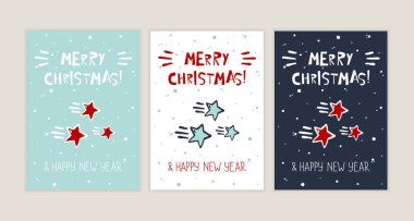 Merry Christmas and Happy New Year. Vector greeting card with stars icon