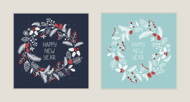 Cute festive postcard with christmas wreath and hand drawn lettering. Winter Holidays greeting cards. Vector illustration icon