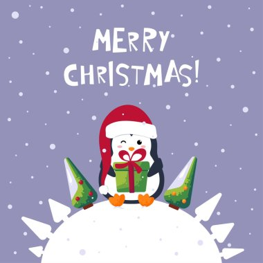 Merry Christmas greeting card. Cute cartoon penguin with xmas pine tree and gift vector illustration icon