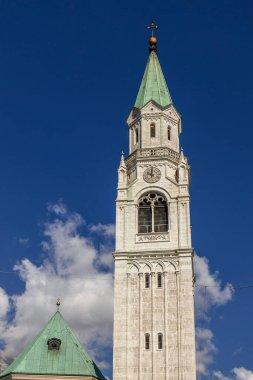 CORTINA D'AMPEZZO, VENETO/ITALY - AUGUST 9 :   View of SS Philip and Jacob Parish Church in Cortina d'Ampezzo, Veneto, Italy on August 9, 2020