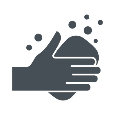 Hands washing icon. Illustration of palms and soap as a symbol of hygiene and health care. icon