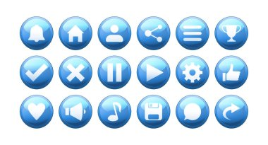 Set of cartoon shiny buttons for mobile games amd apps. Blue volumetric icons for app interface. icon