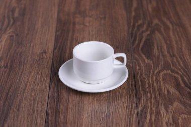 white tea set wooden table