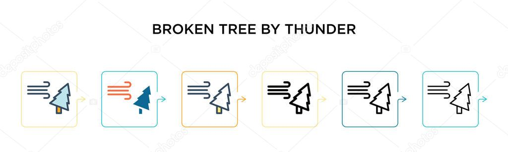 broken tree by thunder vector icon in 6 different modern styles black two colored broken tree by thunder icons designed in filled outline line and stroke style vector illustration can be wdrfree
