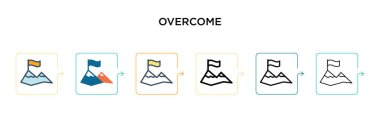 Overcome vector icon in 6 different modern styles. Black, two colored overcome icons designed in filled, outline, line and stroke style. Vector illustration can be used for web, mobile, ui