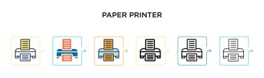 Paper printer vector icon in 6 different modern styles. Black, two colored paper printer icons designed in filled, outline, line and stroke style. Vector illustration can be used for web, mobile, ui