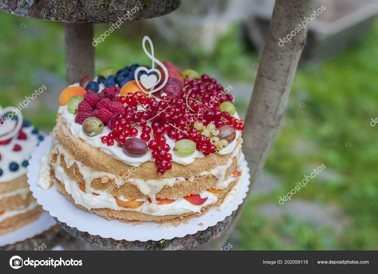 Beautiful Wedding Cakes Closeup Fruit Wedding Cakes Stock