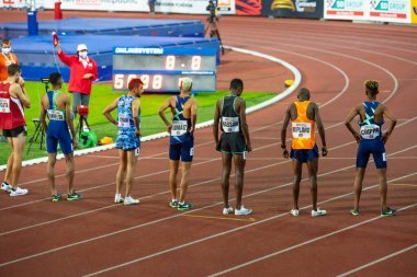 OSTRAVA, CZECH REPUBLIC, SEPTEMBER. 8. 2020: Start of professional track and field athletics race. Original wallpaper for summer olympic game in Tokyo 2021