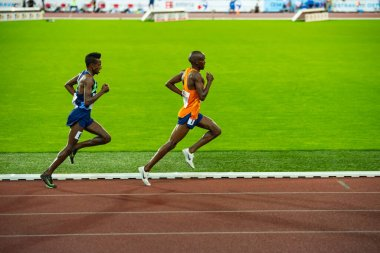OSTRAVA, CZECH REPUBLIC, SEPTEMBER. 8. 2020: Selemon Barega and Jacob Kiplimo long-distance runner in 5000 meters professional athletics race, preparation for olympic game in Tokyo 2021