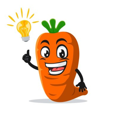 Vector illustration of carrot mascot or character got idea icon