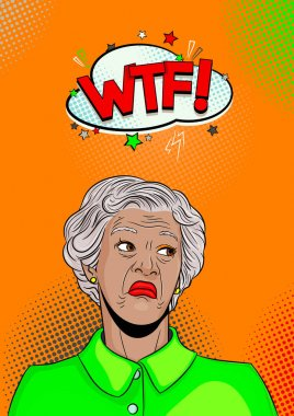 gray haired grandmother is dissatisfied. Pop art retro vector illustration comic cartoon figure vintage kitsch