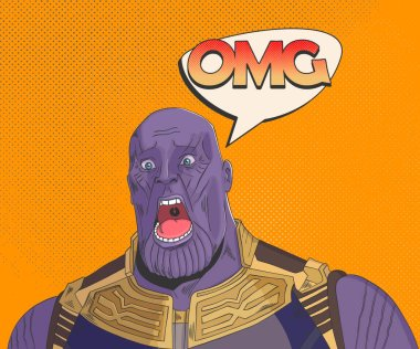 Thanos. Surprised OMG shocked face. Pop art  vector illustration. EPS 10