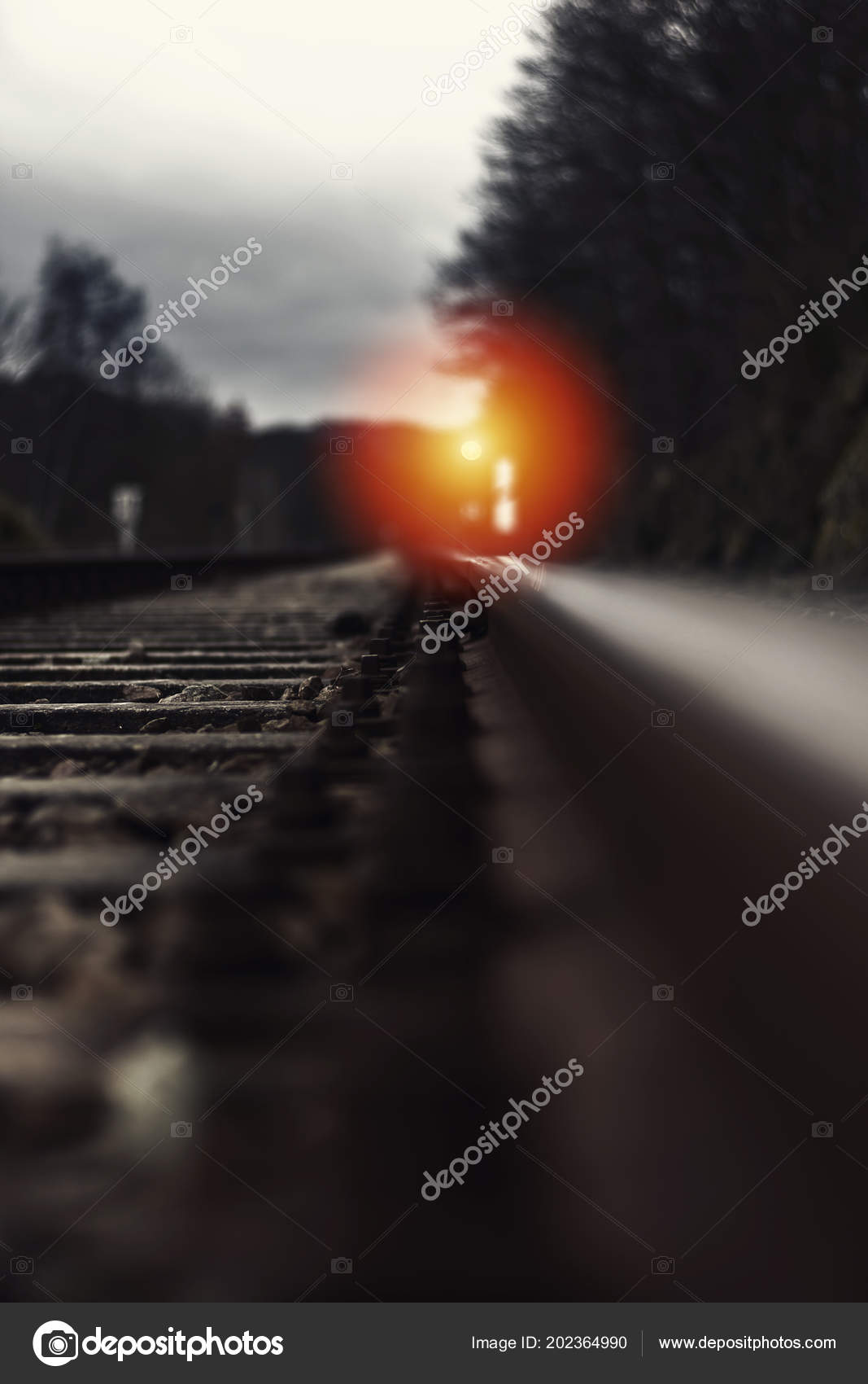 Railroad Track Signal Lamp Distance Night — Stock Photo