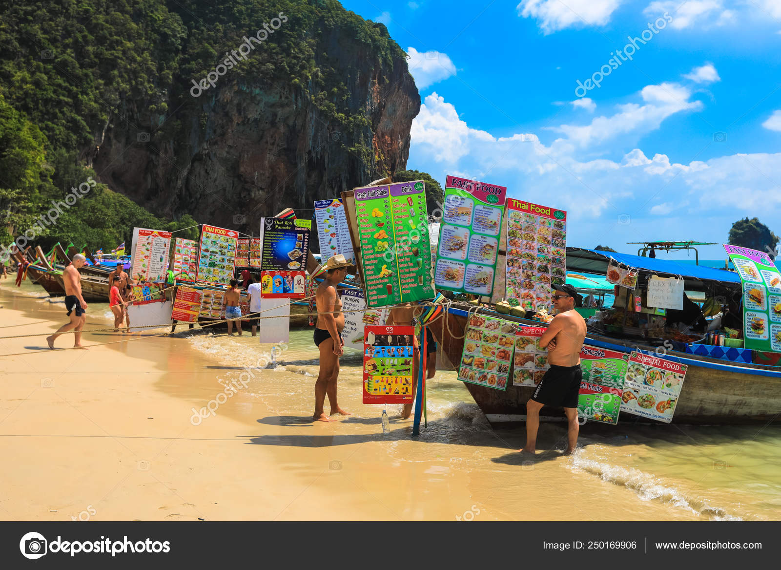 Krabi Thailand February 2018 Longtail Boats Selling Thai