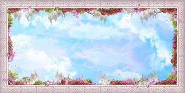 """Картина, постер, плакат, фотообои """"beautiful image for the ceiling with stucco, pink flowers, clouds and petals.. digital collage, mural and fresco. обои. плакат дизайн. модульная панно."""", артикул 407941566"""