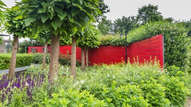 Garden design with a pond and a red wall