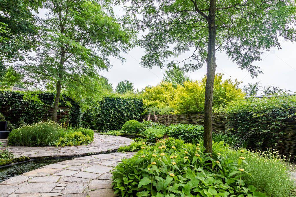 Garden design with water elements