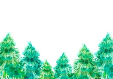 Hand painted new year Christmas watercolor green fir tree pines forest isolated poster form background element line ornament with free blank copy space for text. Greeting card, poster, invitation etc.