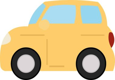Vector emoticon illustration of a simple yellow car icon