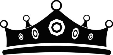 Vector illustration of a crown in black and white icon