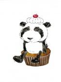 Akvarel se vtipný kreslený panda. Ona sedí smutně na dort a symbolizuje dietu. Ilustrace v tradičním čínském stylu, izolované na bílém pozadí.