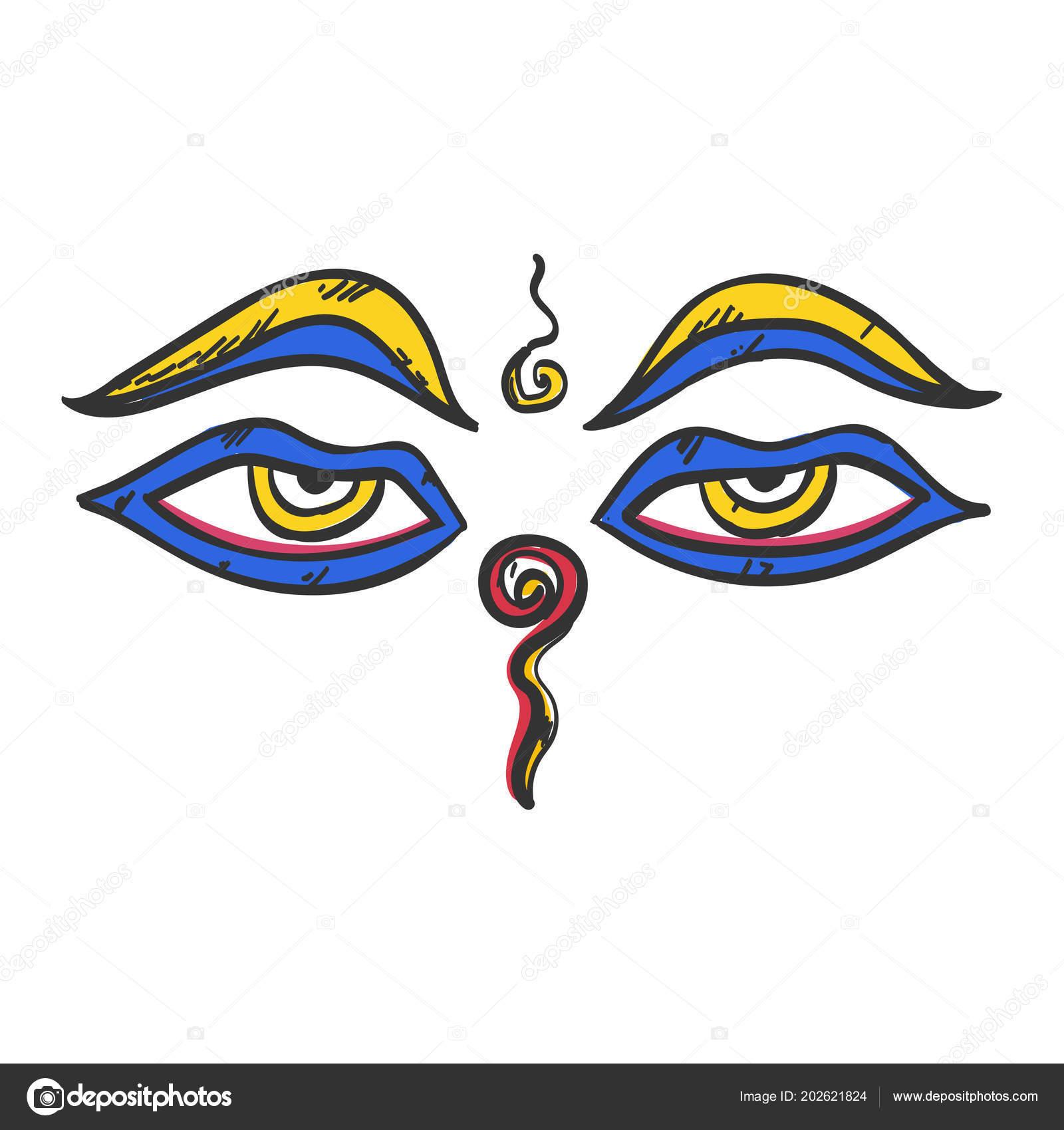 Buddhas Weisheit Augen Buddhismus Symbol Flach Web Zeichen Symbol