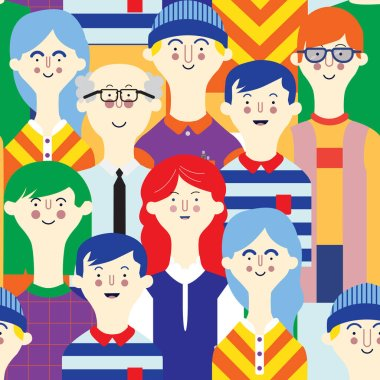 Avatars character people set. Flat, female, male pattern, seamless color tile background icon