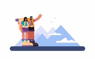 Happy couple of hikers admiring mountain ridge